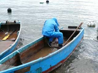 2008年12月14日(日)嵯峨根船頭さんは木造船のアカ抜き作業中です