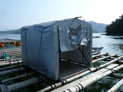 2009年2月7日(土)両親と2名で簡易テントを移動して固定しました